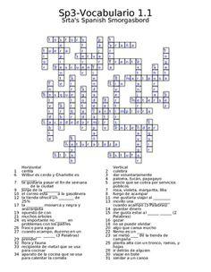 Spanish Avancemos 3 Vocab 1.1 Crossword