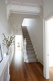 May 7 first impressions count creating a hallway with impact house carpet stairs victorian white staircase Style At Home, White Staircase, Staircase Landing, Foyer Staircase, Staircase Runner, White Banister, Hallway Runner, Escalier Design, Hallway Inspiration