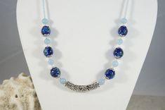 Royal Blue Lampwork bead necklaceAquamarine by ShadesofyouJewelry
