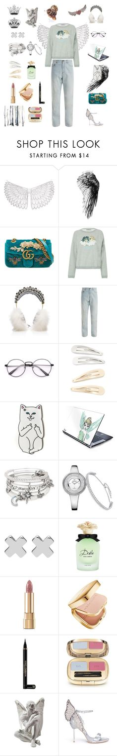 """Modern Angel"" by madabv ❤ liked on Polyvore featuring Gucci, Fiorucci, Dolce&Gabbana, Yves Saint Laurent, Kitsch, RIPNDIP, Alex and Ani, Witchery, Lladró and Sophia Webster"