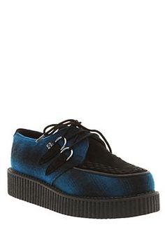 T.U.K. BLUE & BLACK WOOLY PLAID LOW SOLE CREEPERS
