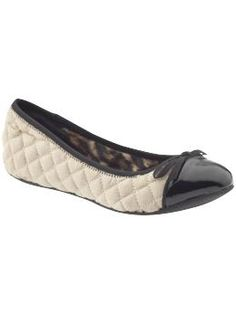 Adorable quilted cap toe ballerina flats - Majorie by Mia in Champagne