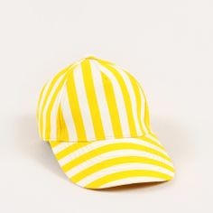 Summer Time Perfect-Striped Cap #accessories #hats #minirodini #yellow #zoologist