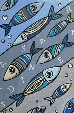 Fish Art, Rock Art, Painted Rocks, Paper Art, Decoupage, Fish Paintings, Wooden Fish, Beach House Decor, Animales
