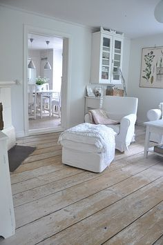 whitewashed floorboards by vladtodd Distressed Wood Floors, White Wood Floors, Distressed Painting, Swedish Decor, Swedish Bedroom, Swedish Style, White Rooms, Home And Deco, Shabby Chic Homes