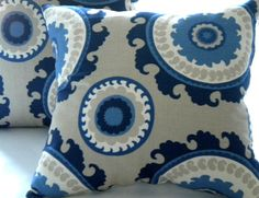 Pillow cover Navy Suzani Indigo Blue Cream Taupe 16 x by MicaBlue, $35.00