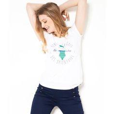 a055cadb29b Camaïeu - T-shirt femme print vintage - TNAGEUSE BLANC Blanc - Achat   Vente.  CDiscount