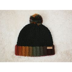 Rainbow and Black Fold-Over Crocheted Beanie with Pom Pom (35 AUD) ❤ liked on Polyvore featuring accessories, hats, rainbow beanie, beanie hats, pompom hat, rainbow hat and crochet beanie hat