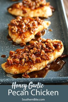 This recipe for Honey Garlic Pecan Chicken is impressive, but so easy. It's … This recipe for Honey Garlic Pecan Chicken is impressive, but so easy. It's perfect for a busy weeknight but fancy enough for company. Honey Recipes, Gourmet Recipes, Cooking Recipes, Fast Recipes, Pecan Recipes, Yummy Chicken Recipes, Entree Recipes, Cooking Ideas, Cooking Time