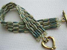 Green herringbone stitch beaded bracelet