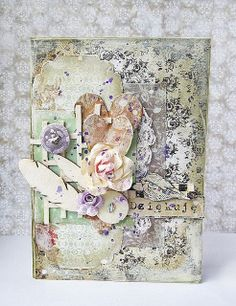 by Siwka using feathers chippies from Eye Eye Products, 3rd Eye, Mixed Media Art, Cardmaking, Feathers, Vintage World Maps, Decorative Boxes, Wraps, Gift Wrapping