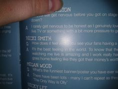 My question in ollys 2013 tour program