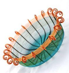 Twentysided copper wire basket in ocean colors by Xanadu2You, $190.00