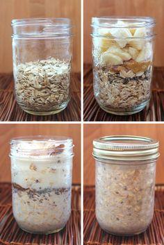 Shake & Go Peanut Butter Banana Overnight Oat Jars #Vegan:
