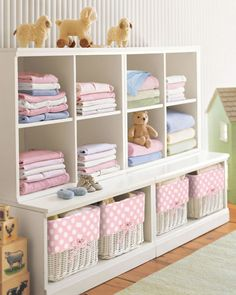 Pottery Barn Kids. Nursery storage - way out of my price range but so cute.
