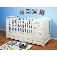 AFG Athena Daphne 3-in-1 Fixed-Side Crib and Changer Combo, White - I would love this in Espresso! @ Walmart