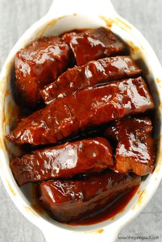 All-Day Melt In Your Mouth #Crockpot BBQ Ribs recipe. ----amazingly tender ribs only take 10 minutes to prep!