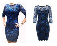 Lace Dress -blue  black FULL BACK John Zack original  uk size 16 eu 44