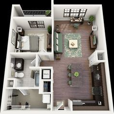 3D 2 bedroom apartment floor plans | Floor Plans - One Bedroom// I love this apartment layout!!!