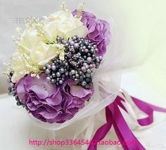 Free Shipping Korean Style Beige Rose and Purple Hydrangea Wedding Bouquet Beautiful Wedding Accessory Hand Made Bridal Bouquet US $45.00