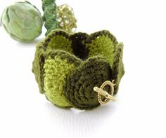Crochet Bracelet Cuff  Wrist Cuff  Olive Green by CraftsbySigita,