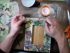Collaging a Frame with Paper Napkins and Perfect Paper Adhesive (PPA) from USArtQuest. See how you can transform a thrift store find in to a treasure using a napkin collage technique with Perfect Paper Adhesive (PPA) from USArtQuest. Joe Rotella from Napkin Decoupage, Decoupage Vintage, Diy Paper, Paper Crafts, Napkin Cards, Envelope Book, Art And Craft Videos, Collage Techniques, Sand Crafts