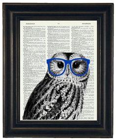 BOGO 1/2 OFF Owl Print Owl with Glasses Owl by HamiltonHousePrints