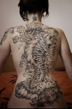 ink  black woman | Back Japanese Koi Fish Tattoo With Black Ink Color Image For Girls