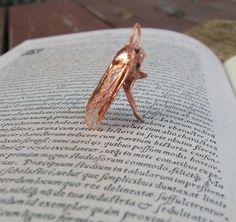 Copper Electroformed Moth Necklace Insect Bug Jewelry OOAK Metal Electroforming. $110.00, via Etsy.