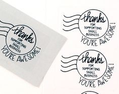 These stickers made EXCLUSIVELY for our shop by The hand lettering is her work and so cute in person! This is for a set of 48 stickers printed with black ink, labels are 1 round. Packaging Stickers, Gift Packaging, Packaging Ideas, Business Stickers, Logo Stamp, You're Awesome, Custom Labels, Hand Lettering, Etsy Seller