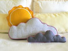 Items similar to Cloud Pillows and Sun Pillow, Nursery/ Bed/ Wall Decor on Etsy Sky Nursery, Cloud Pillow, Sun And Clouds, Little Ones, Kids Room, Crafty, Throw Pillows, Handmade Gifts, Pillow Ideas