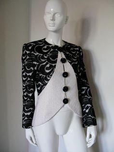 Vintage 1980s Galanos Ivory Boucle and Black Paisley Lace Evening Jacket   https://www.etsy.com/listing/94751682/vintage-1980s-galanos-ivory-boucle-and