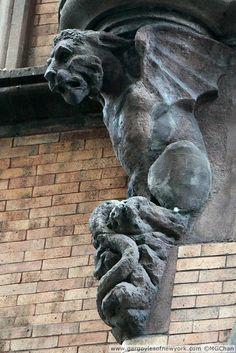Gargoyles of New York Stone Sculpture, Sculpture Art, Gothic Gargoyles, Architecture Details, Modern Architecture, Architectural Sculpture, Ange Demon, Stone Statues, Angels And Demons