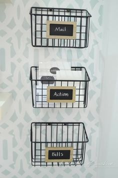 DIY mail sorting baskets from a $5 cleaning caddy! | A house full of sunshine: Home office makeover reveal!
