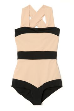 You can't go wrong with this ultra-flattering, color-blocked, high-neck one-piece with a plunging back by Zimmermann. #bathingsuit