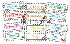 Miss Kindergarten: Organizing Crafts  She uses these to organize her crafts for each month, but the month printables could be used for other things as well.  Have to print out one to see how big they are