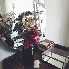 • SACRED SPACE •  Creating sacred spaces or nooks within every room is something I love doing. Give me some dried flowers, crystals, books & a vintage price of furniture & I'm happy. This little space lives in our bedroom... Fx  // See more inside my home on our snapchat, our username is YCLJEWELS x