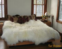 Shag Sheepskin Faux Fur Area Rug / Thick White or by FurAccents