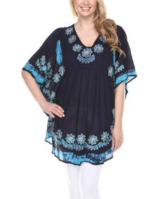Another great find on #zulily! Turquoise Floral Embroidered Dolman Tunic - Women by Ananda's Collection #zulilyfinds