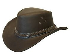 c4e5fecce74 LEATHER DOWN UNDER HAT AUSSIE BUSH COWBOY STYLE Classic Western Outback  Brown Black · Mens ...
