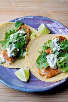 Fish Tacos with Lime-Cilantro Crema ~ Oh my goodness, I bet these are fantastic! I love god Fish Taco's and especially Lime Cilantro Crema! Fish Recipes, Seafood Recipes, Mexican Food Recipes, Great Recipes, Dinner Recipes, Cooking Recipes, Favorite Recipes, Healthy Recipes, Tilapia Recipes