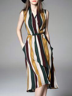 Multicolor Sleeveless Linen V Neck Bow Midi Dress - StyleWe.com