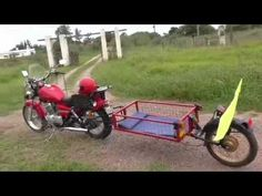 TRAILER DE UNA RUEDA PARA MOTO..PRESENTACION.. - YouTube Pull Behind Motorcycle Trailer, Car Trailer, Bike Trailers, Homemade Trailer, Bicycle Engine, Yamaha Virago, Dump A Day, Moto Bike, Sidecar