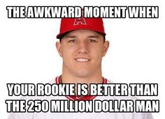 That moment Mike Trout is better than Albert Pujols lol Baseball Memes, Baseball Signs, Angels Baseball, Baseball Boys, Softball, Baseball Crafts, Nfl Memes, Sports Memes, Funny Memes