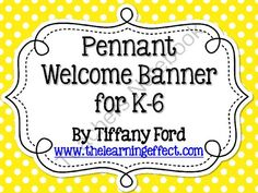 Pennant Welcome Banner - Multi-Brights Polka Dots FREEBIE can be used for K-6th