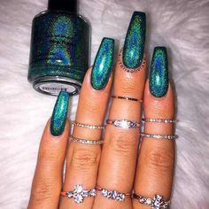 Green Nail Polish Designs New Otherworldly Holographic Nail Polish Rainbow Nails, Neon Nails, Purple Nails, My Nails, Glitter Nails, Green Nail Polish, Holographic Nail Polish, Trendy Nails, Cute Nails