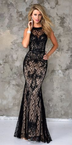 Nina Canacci Lace Gown 4103. Colors: Black/Nude. Size: 0-14