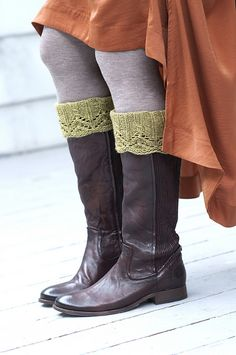 Sharline Boot Toppers knit in Swans Island Worsted. Pattern by Kirsten Kapur Boot Toppers, Riding Boots, Socks, Knitting, My Style, Pattern, Gifts, Island, Projects