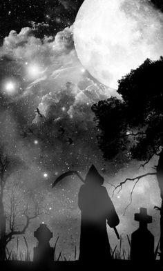 Grim Reaper at full moon