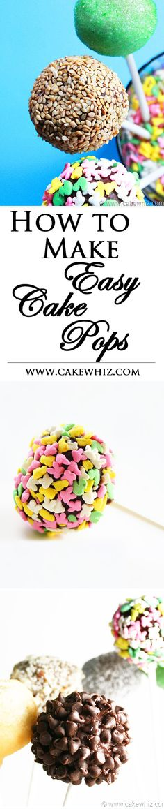 Learn to make and decorate EASY CAKE POPS, using ingredients you already have  in the kitchen like nuts, seeds and sprinkles! From cakewhiz.com
